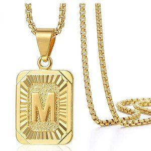 Womens Gold Initial Pendant w/Chain